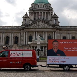 Belfast City Hall with Solv Truck Banner